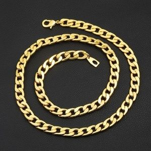 Accessories - NWT 18K Gold PLATED 6mm Men's Figaro Chain